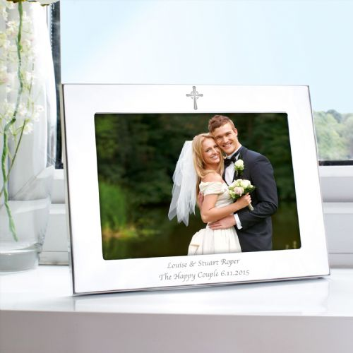Personalised Silver 5x7 Landscape Cross Frame